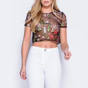 Boho Floral Embroidery Black Mesh Crop Top