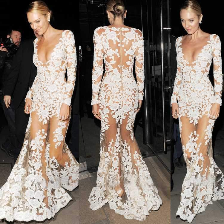White Lace Embroidered Sheer Mesh Mermaild Formal Gowns Dress