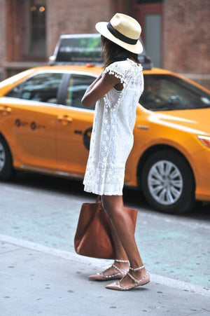 Boho White Sheer Lace Dress Summer Sundress