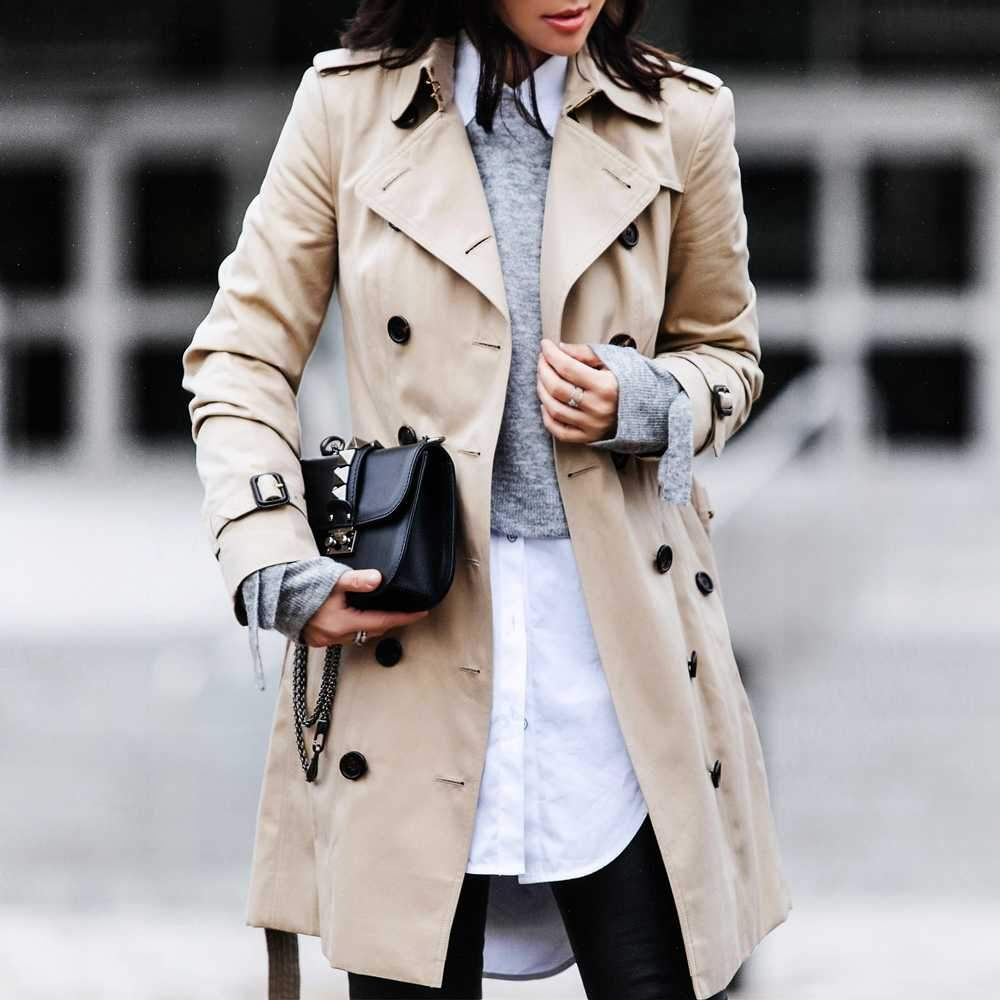 Classic Double Breasted Turtle Neck Women's Beige Trench Coat