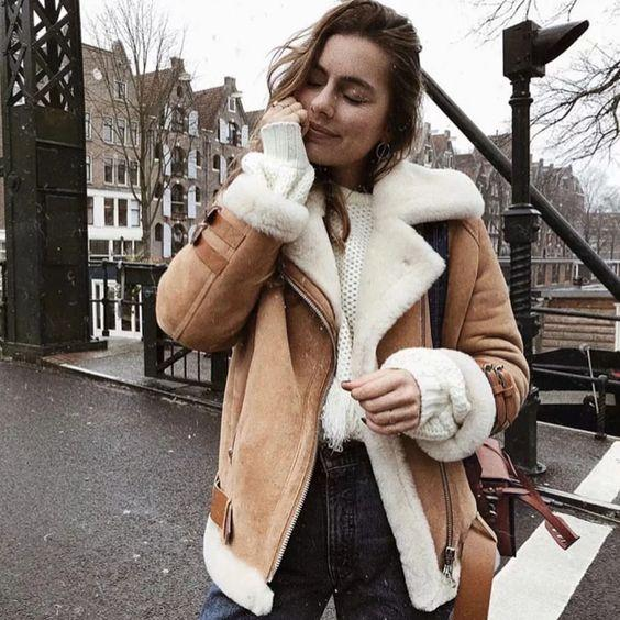 Faux Fur Lined Leather Shearling Moto Jacket