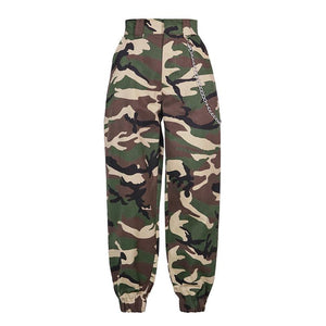 High Waisted Baggy Carrot Trousers Cargo Pants With Chains
