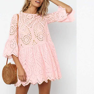 Casual Scalloped Trim Hemline Eyelet Lace Swing Dress