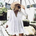 Oversized Casual Button Up Ruched Ruffle Hem Short Beach Dress