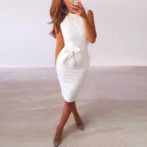 Classy High Neck Tie Waist White Lace Overlay Sheath Dress