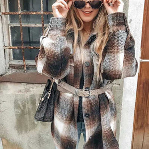 Classic Thick Colorblock Checked Button Down Woolen Shirt Jacket