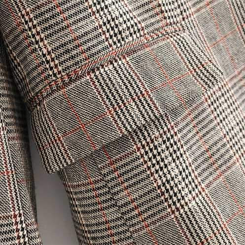 Designer One Button Tartan Plaid Womens Checked Blazer Jacket