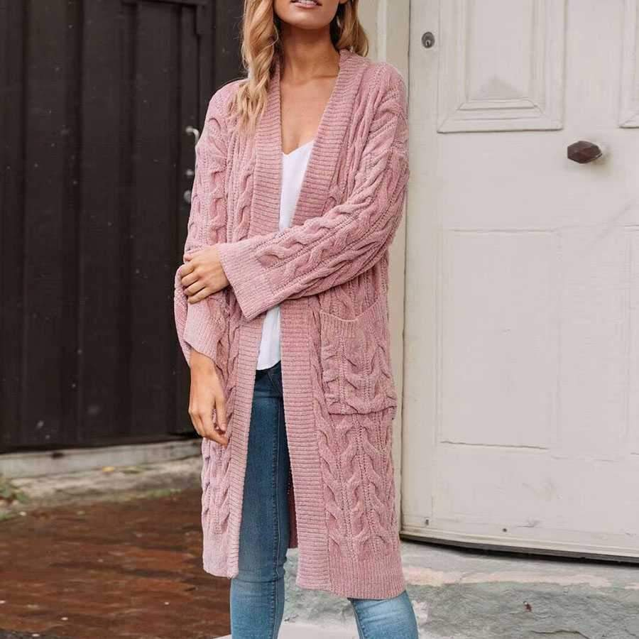 Oversized French Braided Knit Long Cardigan Sweaters For Women