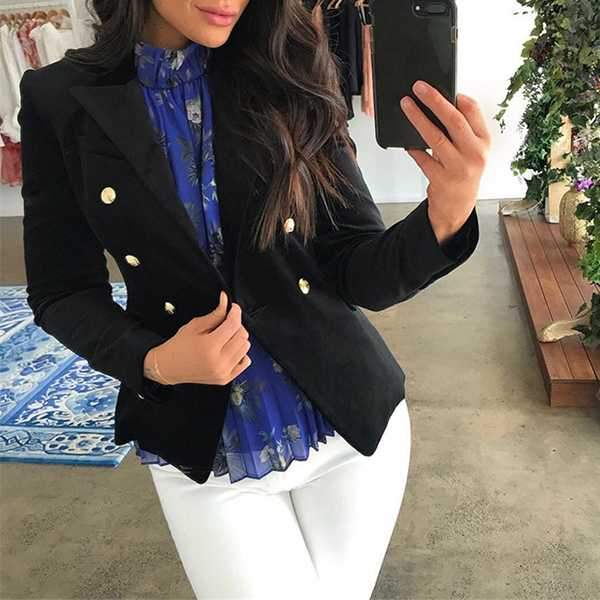 Double Breasted Women's Casual Black Blazer Jacket