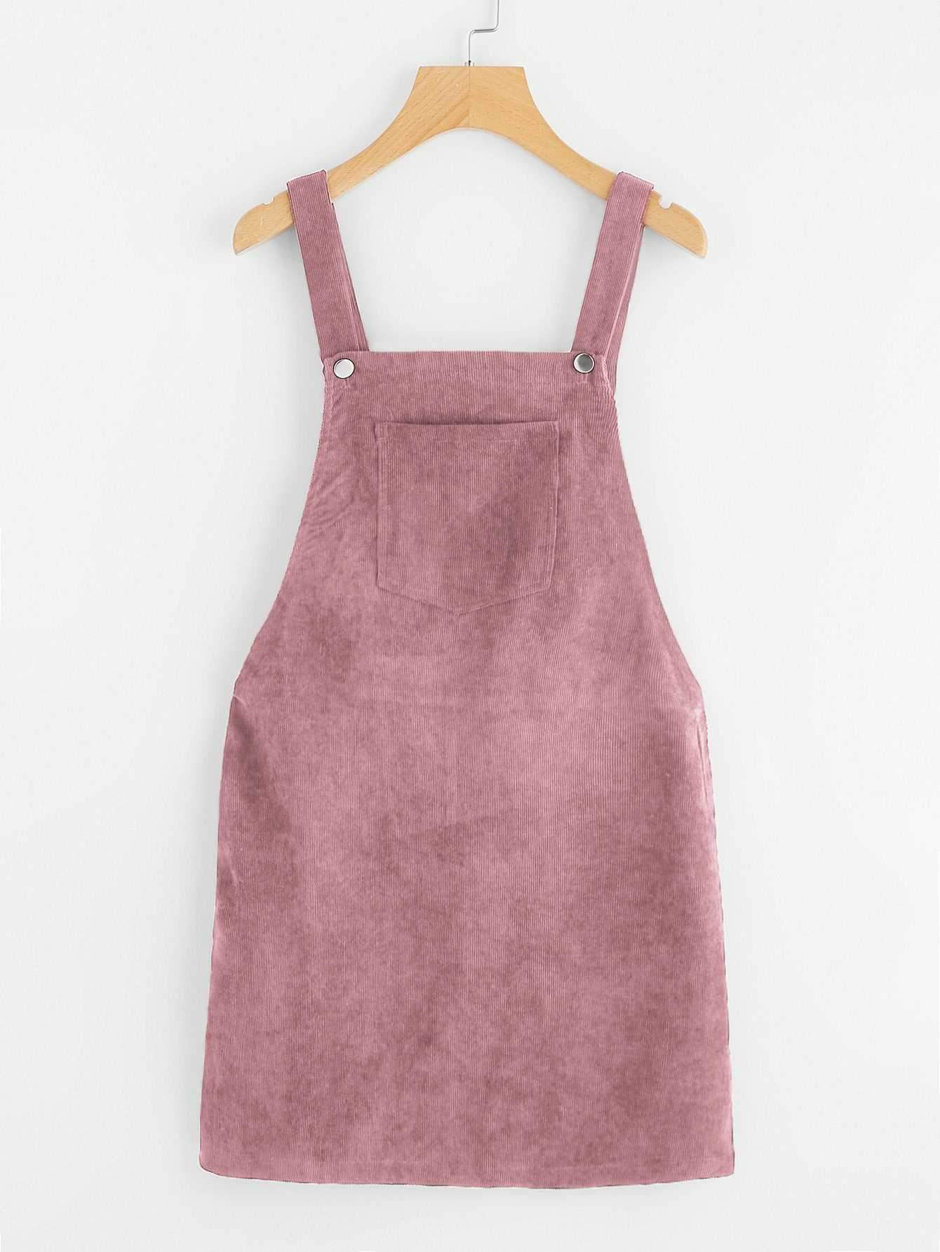 Casual Short Corduroy Overall Dress Cord Jumper