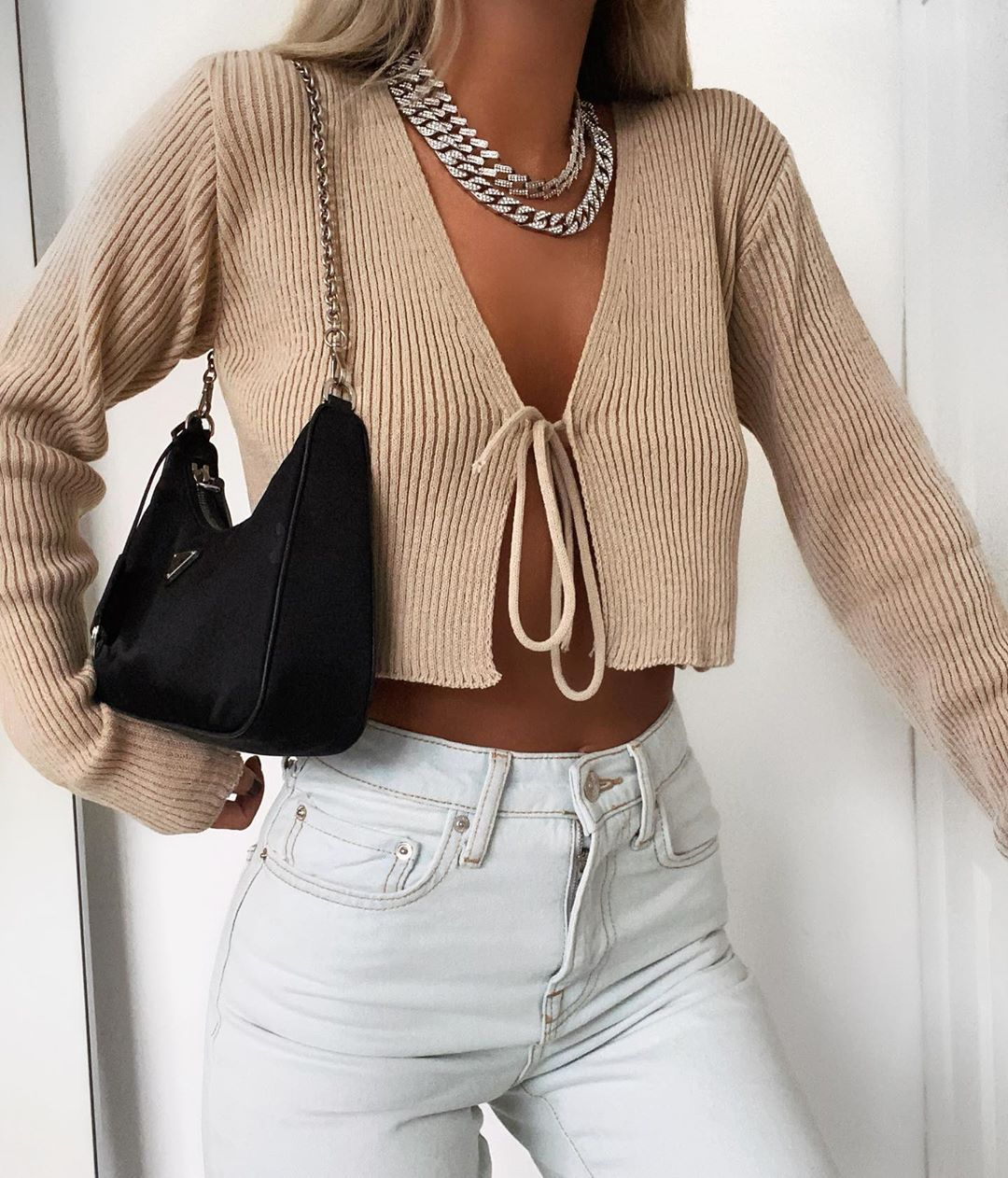 Ribbed Knitted Long Sleeve Front Tie Crop Top T Shirt