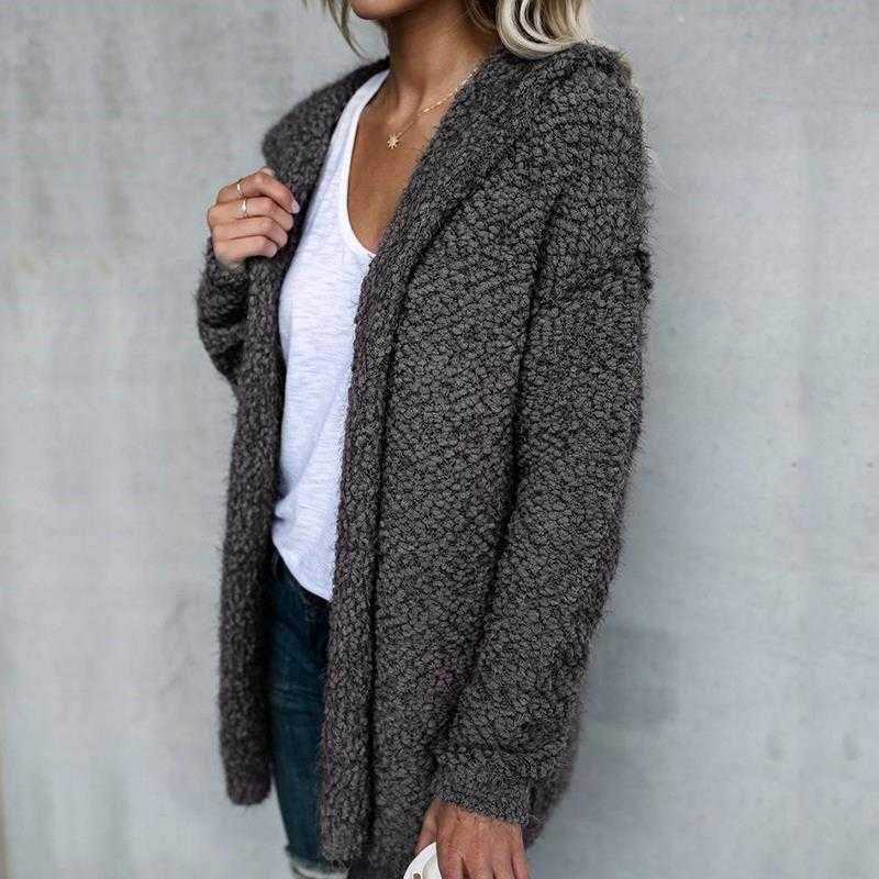 Oversized Faux Wool Long Hooded Cardigan Sweaters