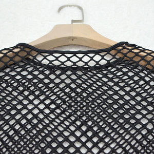 Black Mesh Fishnet Sheer Crop Top&Short Co ord Sets