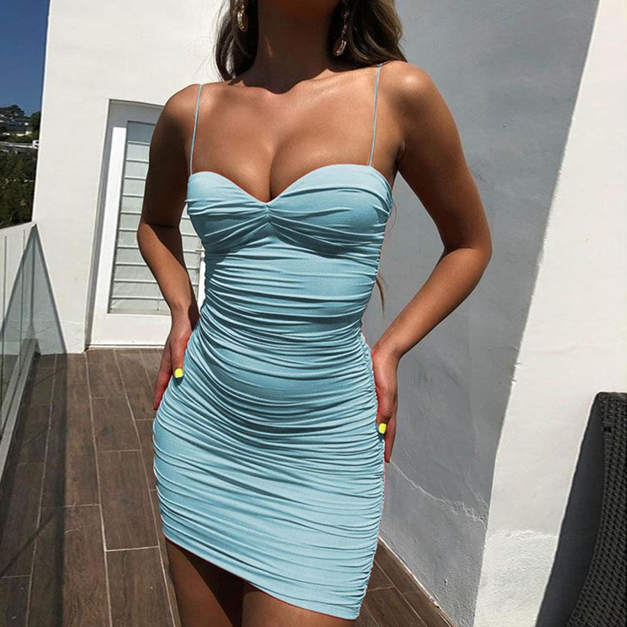 Sexy Sweetheart Neckline Ruched Bodycon Spaghetti Tight Dress