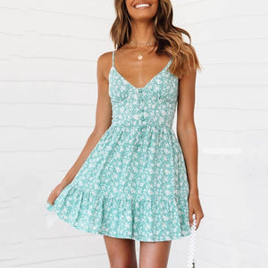 Vintage Button Front Teal Floral Mini Dress