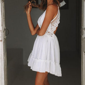 Deep V Neck Embroidery Lace Tiered Ruffle Dress Open Back