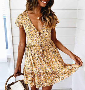 Ditsy Floral Prints V Neck Button Through Mini Dress