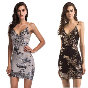 Sparkly Glitter Floral Embellished Spaghetti Plunge Sequin Dress