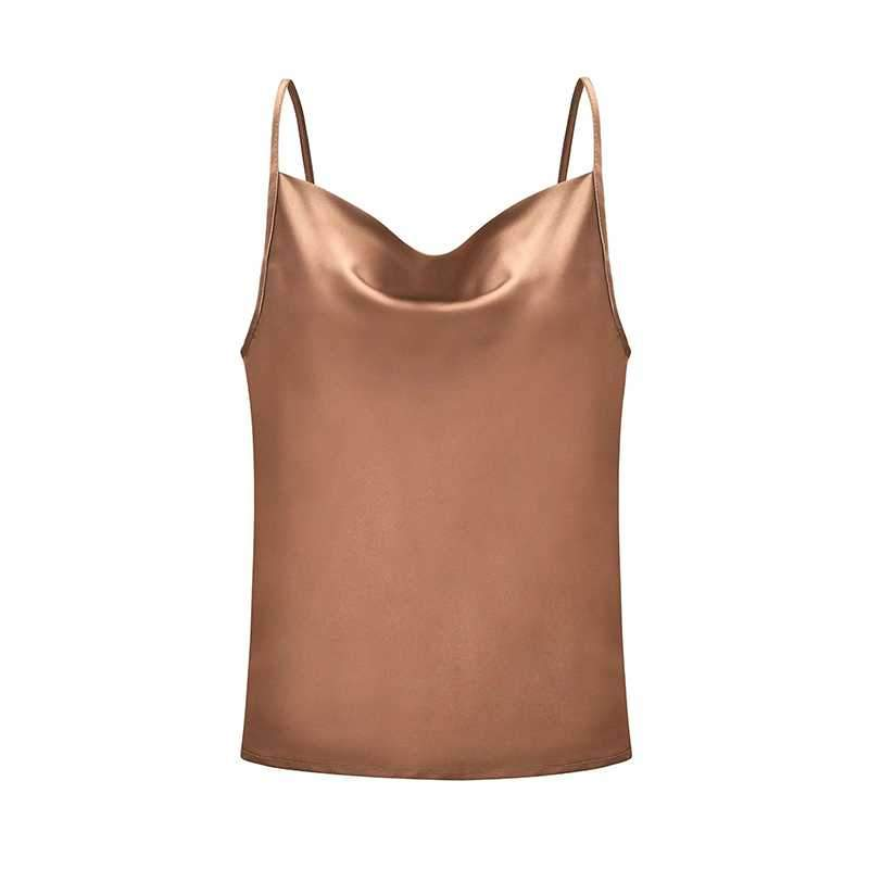 Relaxed Adjustable Spaghetti Strap Cow Neck Silk Satin Cami Camisole Top