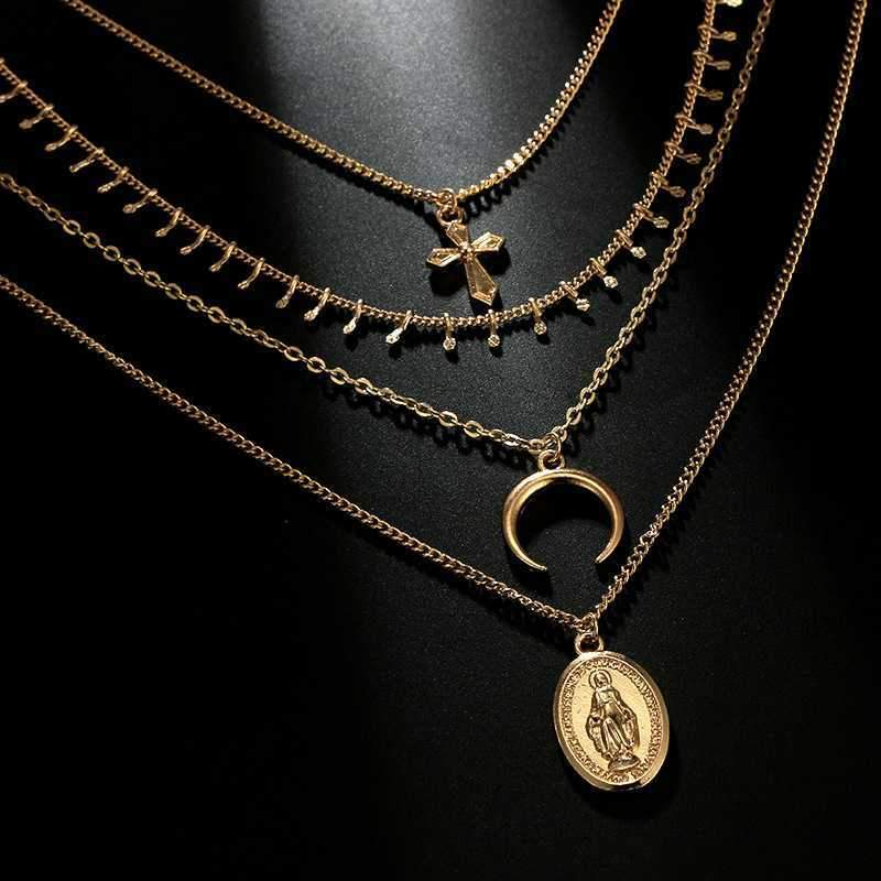 Gold Madonna Goddess Coin Crescent layered Necklace Set