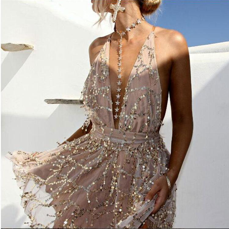 Shiny Tassels Embellished Tulle Plunge Flowy Mini Dress Cross Back