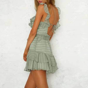 Chiffon Striped Ruffle Strap Short Tulle Tiered Ruffle Mini Dress Backless