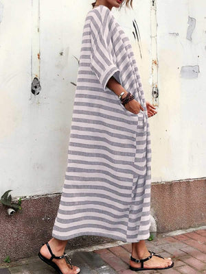 Oversized Casual Striped Maxi Dress With Sleeve