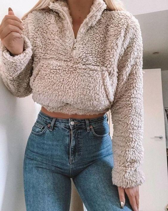 Polo Cropped Faux Fur Coat Fleece Lined Shearling Sweatshirt Pullover With Pocket