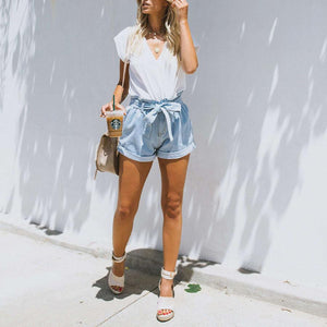 Boyfriend Loose Fit High Waisted Cuffed Paperbag Denim Shorts
