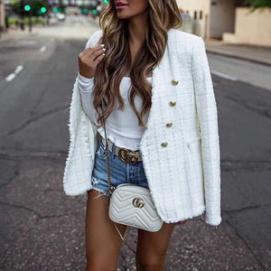 Classy Blended Wool Double Breast Tweed Short Blazer Jacket