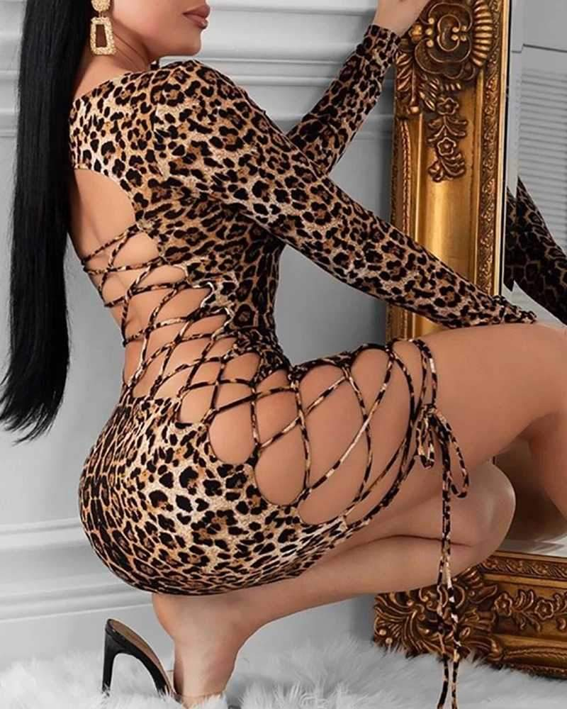 Leopard Strappy Criss Cross Bodycon Back Lace Up Dress
