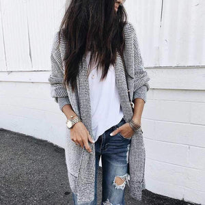 Oversized Black White Checkered Long Cardigan Sweater