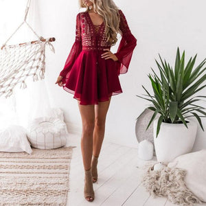 Boho Mesh Hollow Out Front Lace Up Bodycon Dress