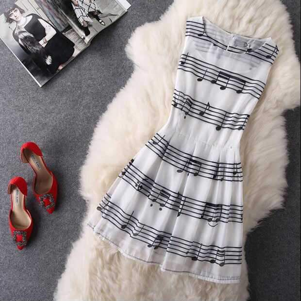 Retro Vintage Music Note A Line Dress