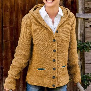 Oversized Ladies Knitted Hooded Cardigan Knitted Sweater Jacket with Pocket