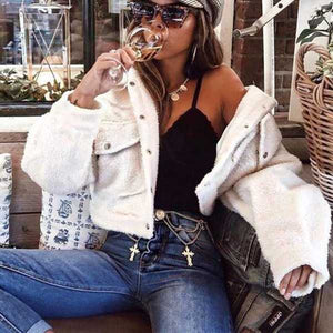 Chic Cozy Teddy Fur Cropped Faux Fur Trucker Jacket