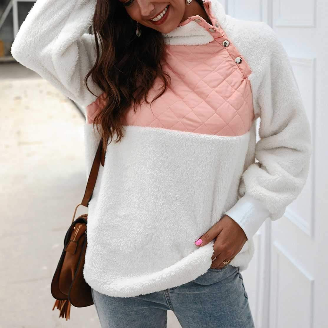 Colorblock Wubby Asymmetrical Snap Up Fleece Pullover Sweatshirt