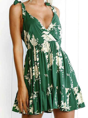 Floral Flowy Plunge Short Dress Open Backs