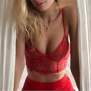 Adjustable Spaghetti Strap Embroidery Lace Bustier Cami Bra Top