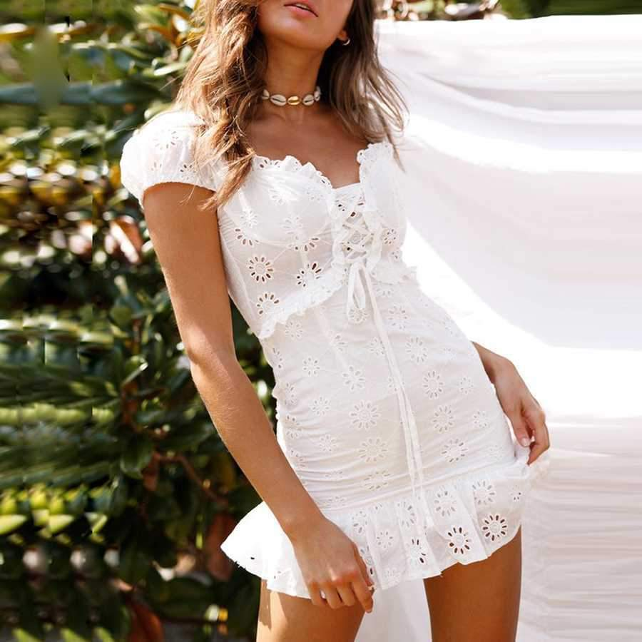 Elegant Criss Cross White Lace Eyelet Dress Puff Sleeve