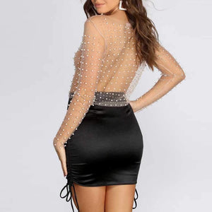 Fabulous Pearls And Rhinestone Studded Embellished Sheer Mesh Lace Shirts