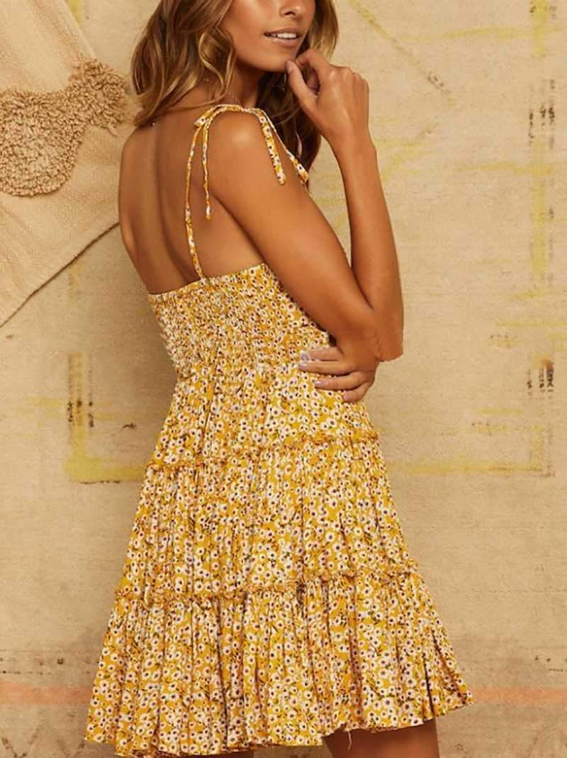 Mustard Yellow Floral Tie Shoulder Ruffle Dress With Frills at bottom