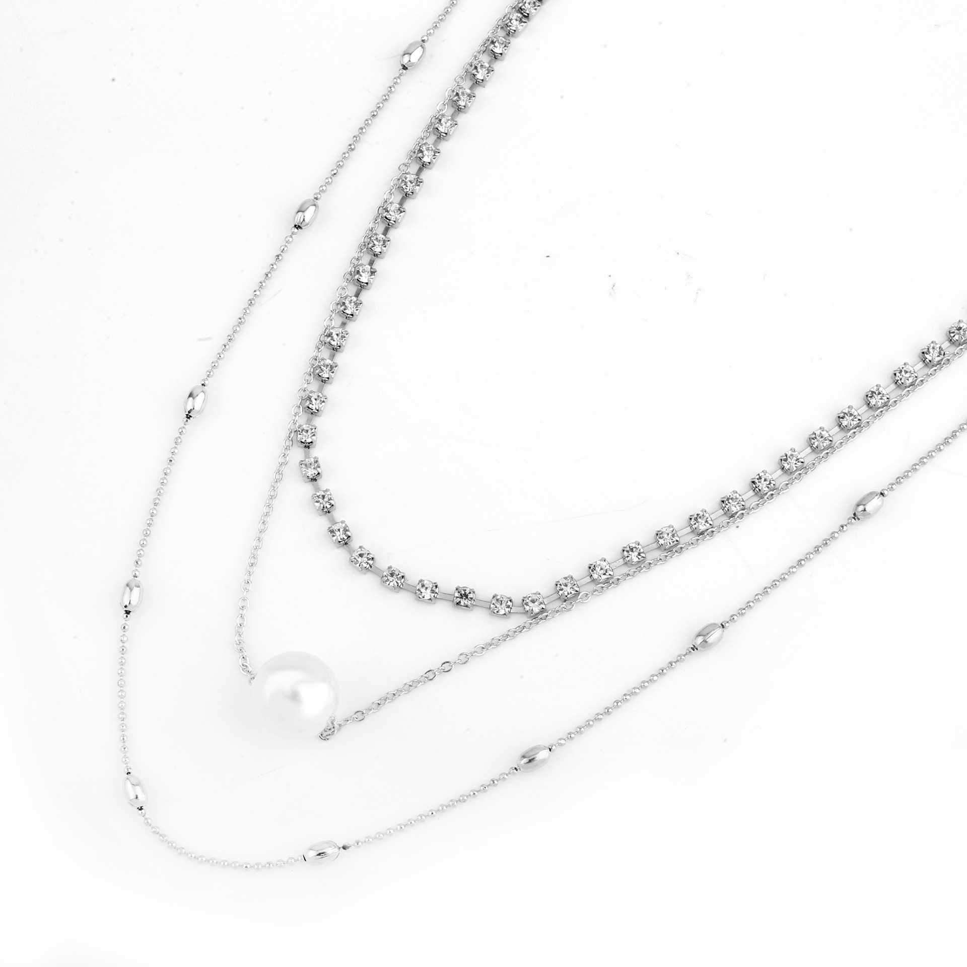 Silver Diamond Pendant Necklace Layered Long Necklace Pearl Choker