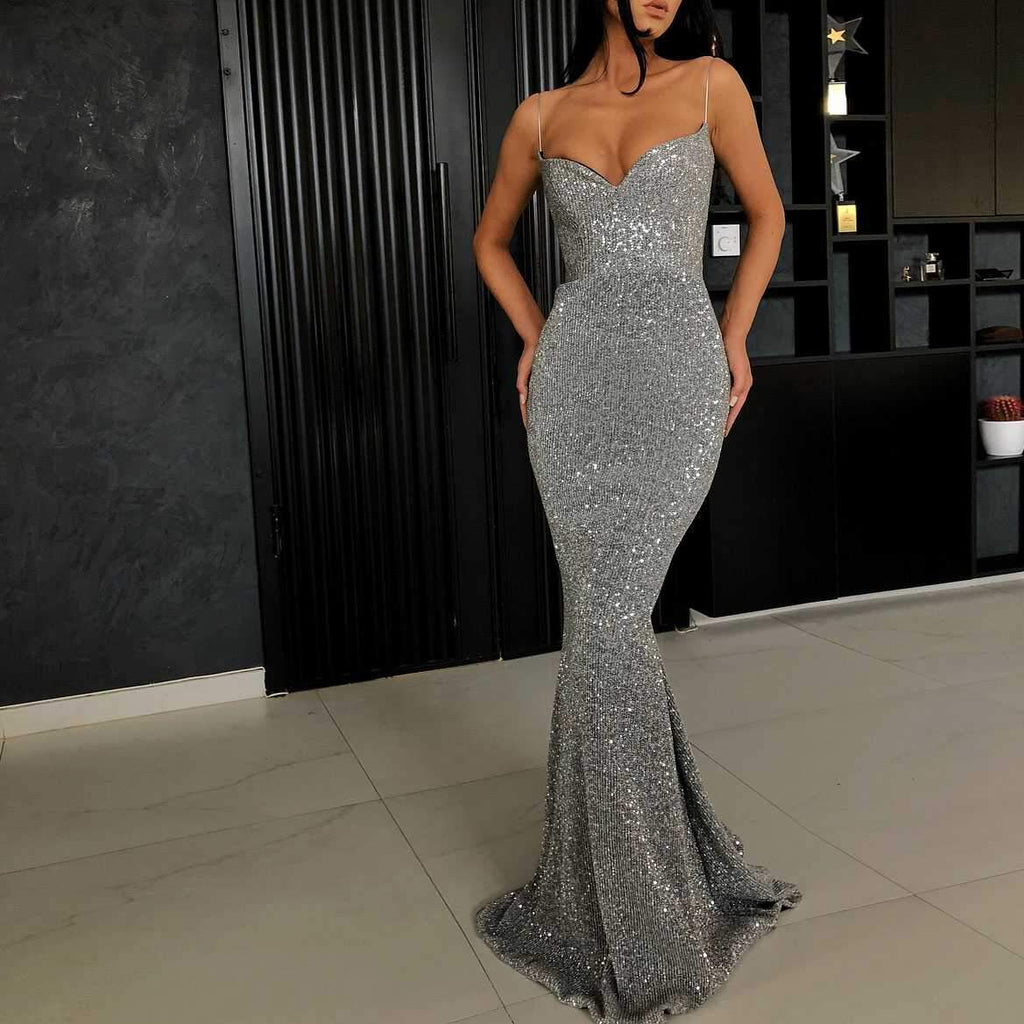 Classy Glitter Silver Long Dress Formal Mermaid Ball Gowns