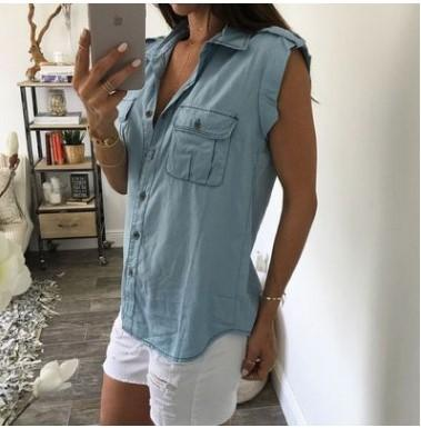 Casual Button Up Sleeveless Denim Shirt Blouses