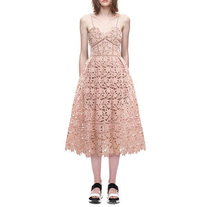 Scalloped Hem 3D Floral Guipure Embroidery Mesh Fit And Flare Midi Dress