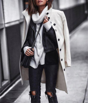 Stand Collar Long Woolen Overcoat Womens Winter Peacoat