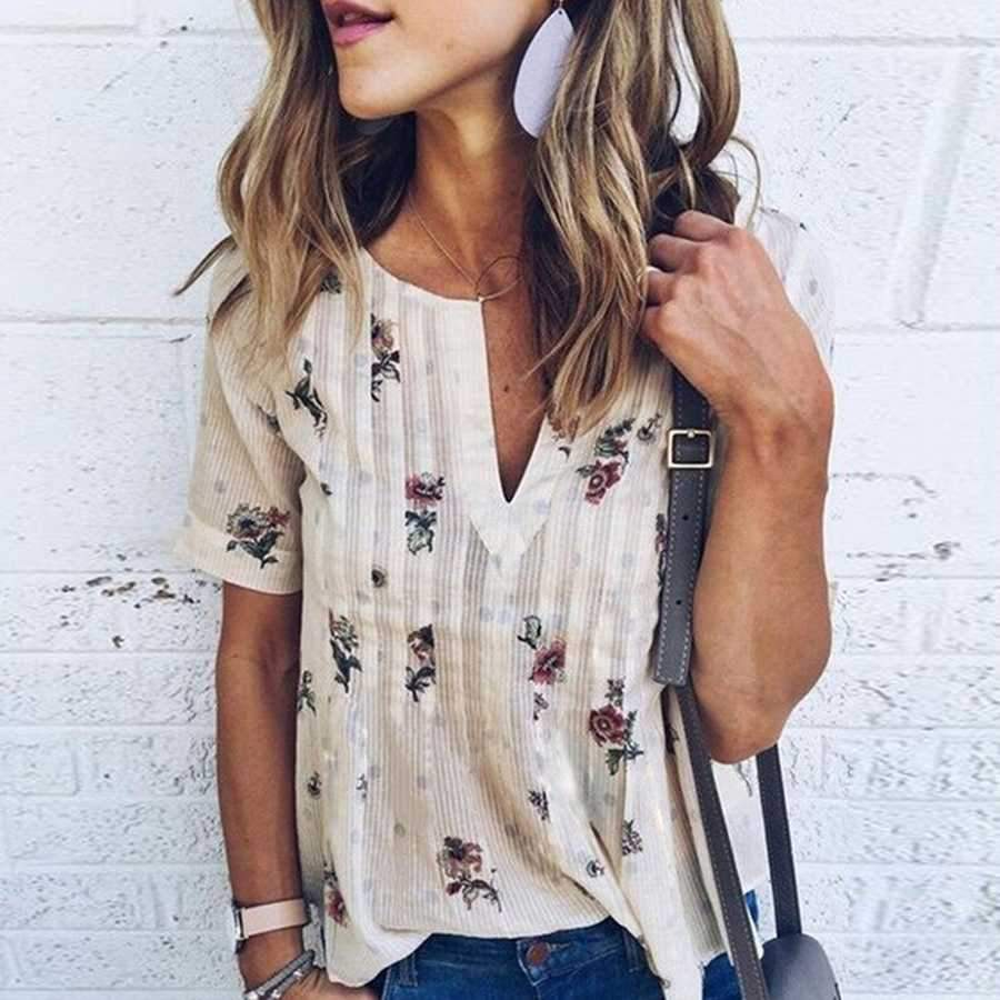 Floral Striped Deep V Neck Casual Blouse