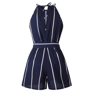 Slimming Belted Tie Waist High Neck Striped Jumpsuit Shorts