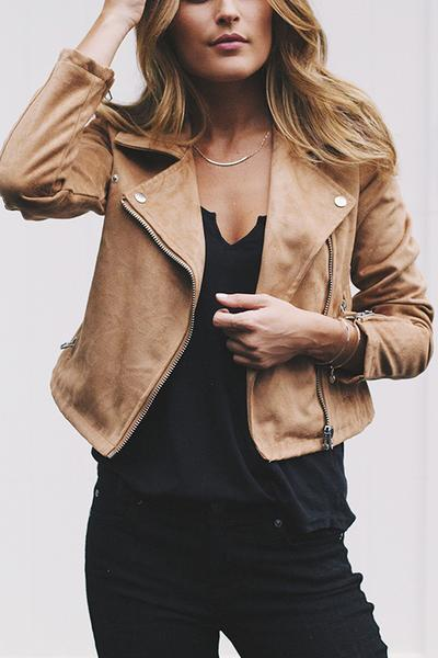 Large Lapel Collar Casual Moto Jacket Zip Up Coat